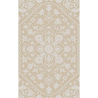 LErmitage Hand-Knotted Beige/Ivory Area Rug Rug Size: Rectangle 5 x 76