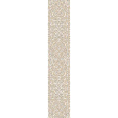 LErmitage Hand-Knotted Beige/Ivory Area Rug Rug Size: Runner 26 x 8