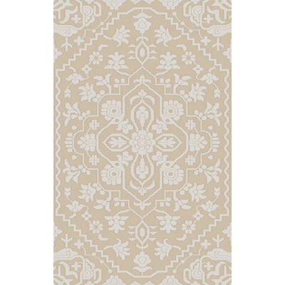 LErmitage Hand-Knotted Beige/Ivory Area Rug Rug Size: 4 x 6