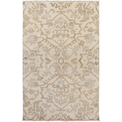 San Michele Hand-Knotted Gray/Beige Area Rug Rug Size: Rectangle 56 x 86