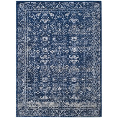 Bellagio Navy/Ivory Area Rug Rug Size: 5'1