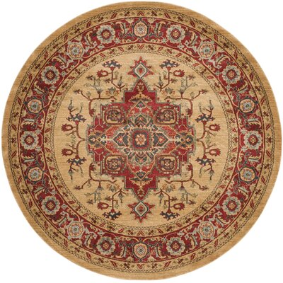 Clarion Red Area Rug Rug Size: Round 9 x 9