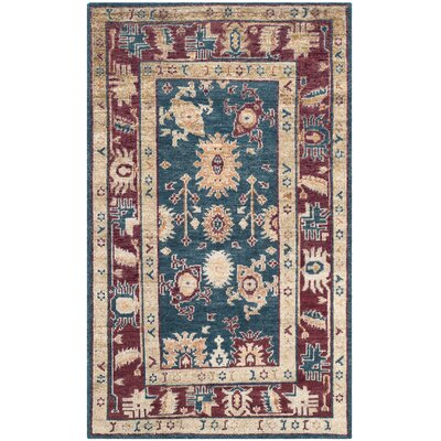 Hacienda Hand-Knotted Blue/Red Area Rug Rug Size: 5 x 8