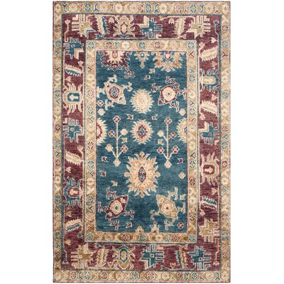 Hacienda Hand-Knotted Blue/Red Area Rug Rug Size: 8 x 10