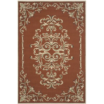 Rockingham Hand-Hooked Rust Area Rug Rug Size: Rectangle 9 x 12