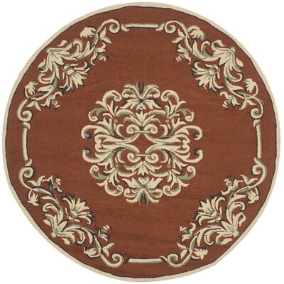 Rockingham Hand-Hooked Rust Area Rug Rug Size: Round 8 x 8