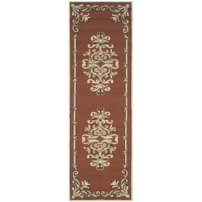Rockingham Hand-Hooked Rust Area Rug Rug Size: Runner 26 x 10