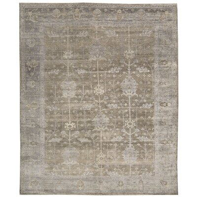 Bachar Hand-Knotted Pewter Area Rug Rug Size: Rectangle 56 x 8
