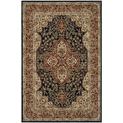 Eldorado Hand-Hooked Black/Rust Area Rug Rug Size: Rectangle 26 x 4