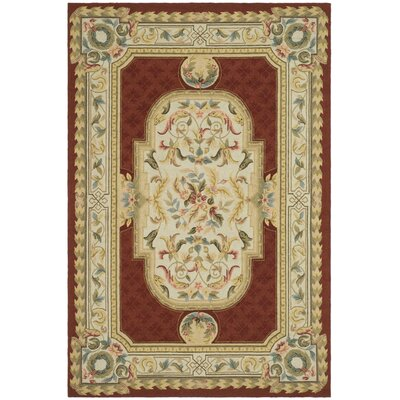 Alladin Hand-Hooked Ivory/Red Area Rug Rug Size: 3 x 5