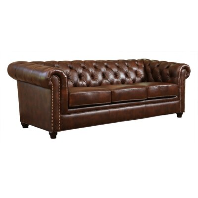 Astoria Grand Curley Hand Rubbed Top Grain Leather Sofa