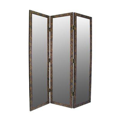 "Sigiriya 72"" x 60"" Mirrored 3 Panel Room Divider Color: Brown / Gold ASTG1557 27439500"