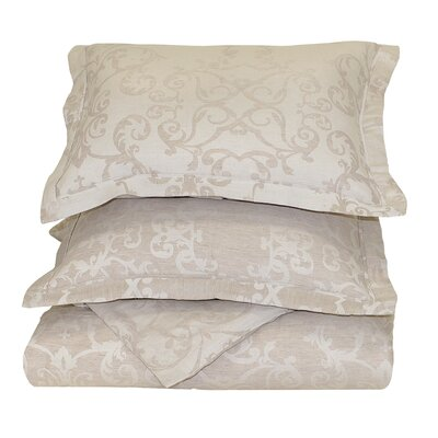 Savoy Reversible Duvet Cover Size: Full/Queen, Color: Natural