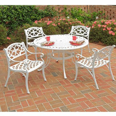 Van Glider 5 Piece Dining Set Finish: White