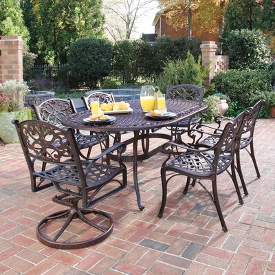 Van Glider 7 Piece Dining Set Finish: Antique Deep Rust Brown