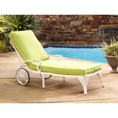 Van Glider Chaise Lounge with Cushion Color: White Chaise Lounge / Green Apple Cushion