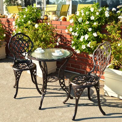 Parkton 3 Piece Bistro Set Finish: Antique Brass