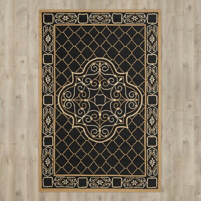 Gresham Palace Hand-Hooked Black/Gold Area Rug Rug Size: Rectangle 5 x 8