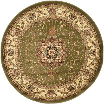 Richborough Sage/Ivory Area Rug Rug Size: Round 5