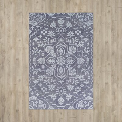 LErmitage Hand-Knotted Blue Area Rug Rug Size: Rectangle 6 x 9