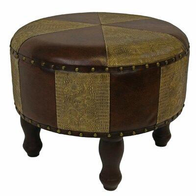 Stone Castle Faux Leather Ottoman Upholstery: Mix Pattern