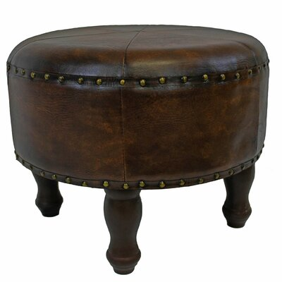 Stone Castle Faux Leather Ottoman Upholstery: Brown