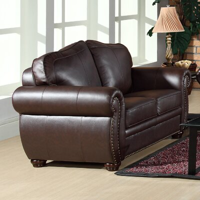 Astoria Grand ASTG2958 30349791 Nassau Leather Loveseat