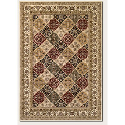 Hampstead Cream/Ruby Area Rug Rug Size: 53 x 76