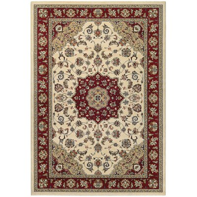 Vincent Ivory/Ruby Area Rug Rug Size: 2 x 37