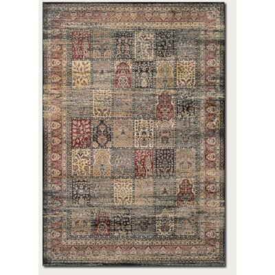 Cotswolds Black/Red Area Rug Rug Size: 53 x 76