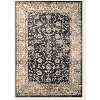 Cotswolds Floral Emblem Black/Oatmeal Area Rug Rug Size: 7'10