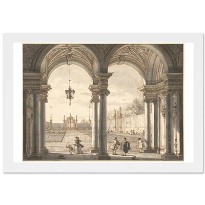 View Through a Baroque Colonnade Framed Painting Print