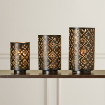 Astoria Grand 3 Piece Square Metal Luminary Set