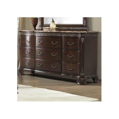 Vista 9 Drawer Marble Top Dresser