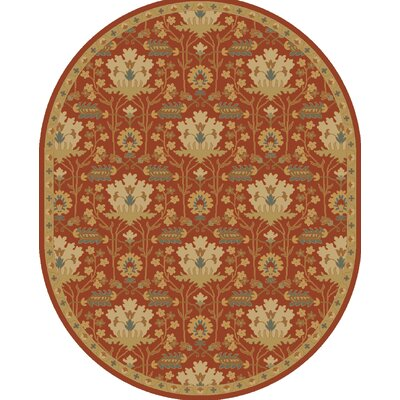 Kempinski Hand-Tufted Red/Beige Area Rug Rug Size: Oval 8 x 10