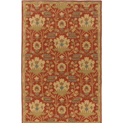 Kempinski Hand-Tufted Red/Beige Area Rug Rug Size: Rectangle 76 x 96