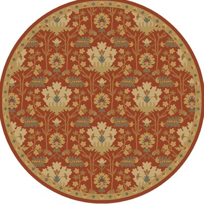 Kempinski Hand-Tufted Red/Beige Area Rug Rug Size: Round 8