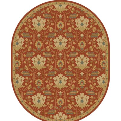Kempinski Hand-Tufted Red/Beige Area Rug Rug Size: Oval 6 x 9