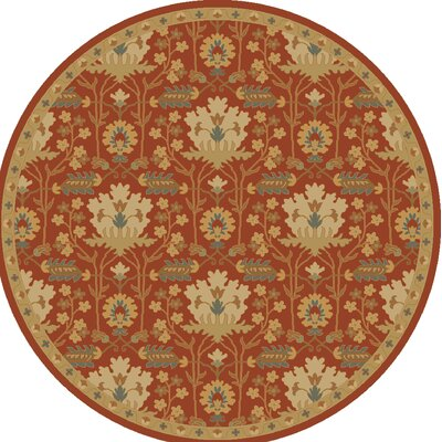 Kempinski Hand-Tufted Red/Beige Area Rug Rug Size: Round 6