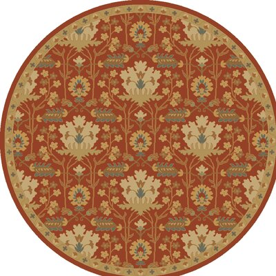 Kempinski Hand-Tufted Red/Beige Area Rug Rug Size: Round 4