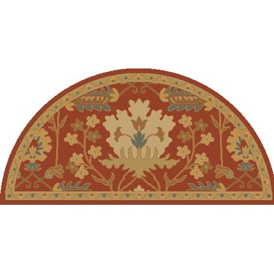 Kempinski Hand-Tufted Red/Beige Area Rug Rug Size: Wedge 2' x 4'