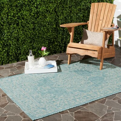 Leo Aqua/Gray Indoor/Outdoor Area Rug