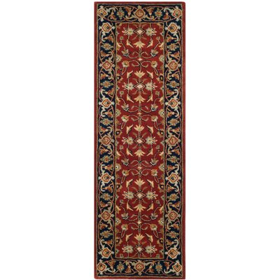 Badham Hand-Tufted Rust/Navy/Orange Area Rug Rug Size: Runner 23 x 7