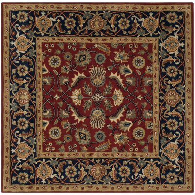 Badham Hand-Tufted Rust/Navy/Orange Area Rug Rug Size: Square 7