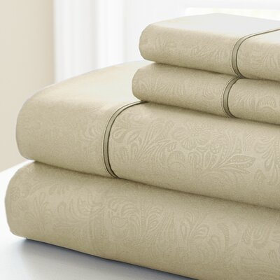 Adamson 4 Piece Sheet Set Size: California King, Color: Champagne
