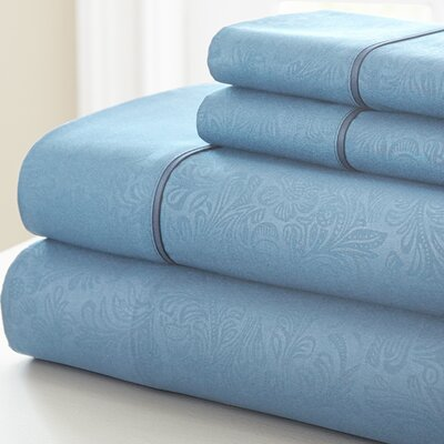 Adamson 4 Piece Sheet Set Size: King, Color: Light Blue
