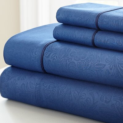 Adamson 4 Piece Sheet Set Size: King, Color: Navy