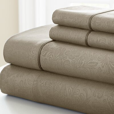 Adamson 4 Piece Sheet Set Size: King, Color: Taupe