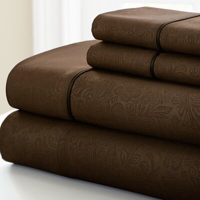 Adamson 4 Piece Sheet Set Size: King, Color: Chocolate