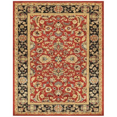 Bavis Red/Black Area Rug Rug Size: Round 9